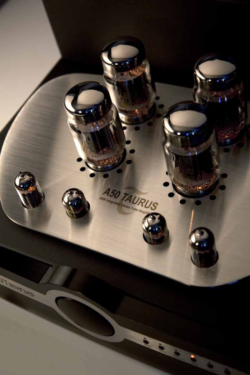 Synthesis A50 Taurus Integrated Amplifier top view showing valves