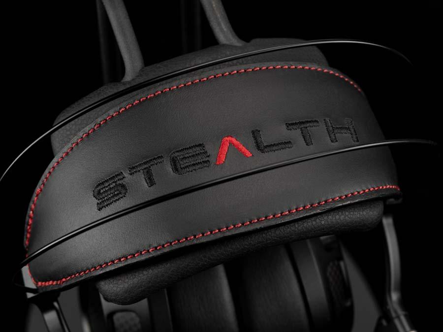 Stealth headphones by Dan Clark Headband logo